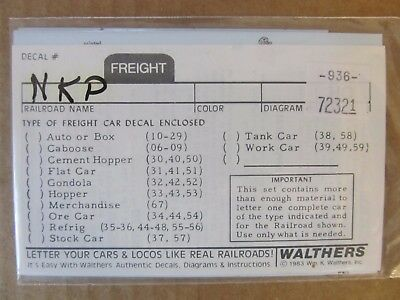 New Walthers O Scale Decal -  Nickel Plate Road Gondola Car #936-72321