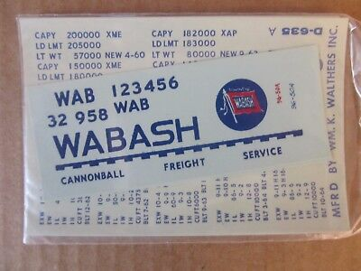 New Walthers O Scale Decal -  Wabash Covered Hopper - Blue Lettering - #96501