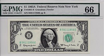 $1 1963A Federal Reserve Note New York S/N B58111956E PMG 66 Gem Unc