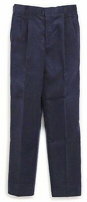 Boys Prep Corduroy Pants 27 x 32 Navy Blue Pin Wale Pleated Front School New
