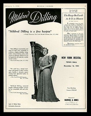 1942 Mildred Dilling photo harp recital tour trade booking ad