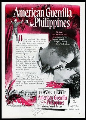 1950 American Guerrilla in the Philippines movie release Tyrone Power photo ad