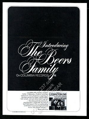 1966 The Beers Family photo An American Folk Tradition album release print ad