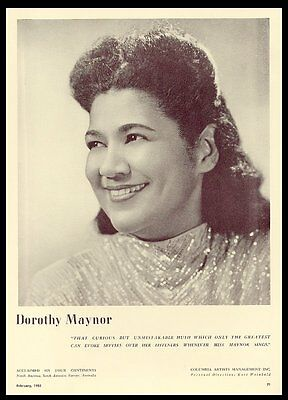 1953 Dorothy Maynor photo USA concert tour trade booking ad