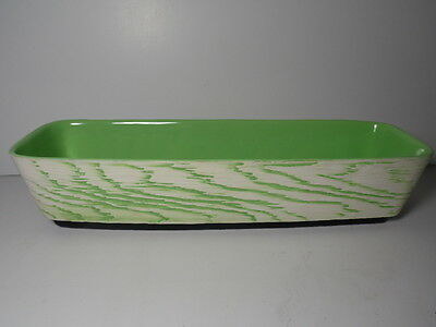 "Vintage Mid Century Shawnee Pottery 1207 Green White 15"" Windowbox Planter Vase"