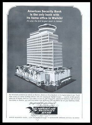 1966 American Security Bank Honolulu Hawaii vintage print ad