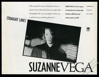 1985 Suzanne Vega photo Straight Lines song release vintage print ad
