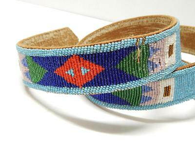Vintage N. Plains Crow Indian Fully Beaded Belt - Nice Cut Beads + Great Colors