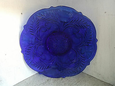 """Mosser Glass Cobalt Blue Inverted Thistle Low Footed Cake Plate 12"""""""