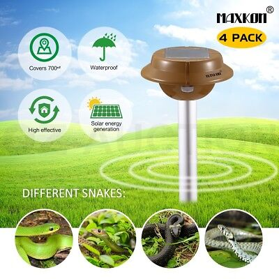 4 x Snake Repeller Sonic Pulse Solar Pest Rodent Repellent w/ 700sqm Coverage