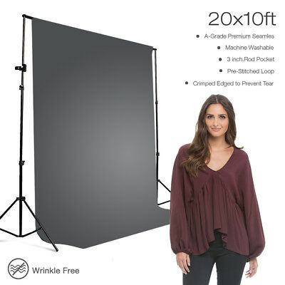 100% Polyester 10 x 20ft Gray Muslin Backdrop Photography Background