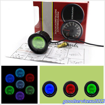 "Round 2"" 52mm 7-Color Car SUV Water Temp Temperture Digital Meter gAUGE 40-140°C"