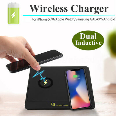Qi Wireless Standard Dual Charger Charging For iPhone 8/8Plus Sansung HTC LG AU