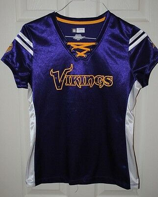 Nfl Team Apparel Minnesota Viking Lace Up Jersey Top With Crystals Purple Yellow