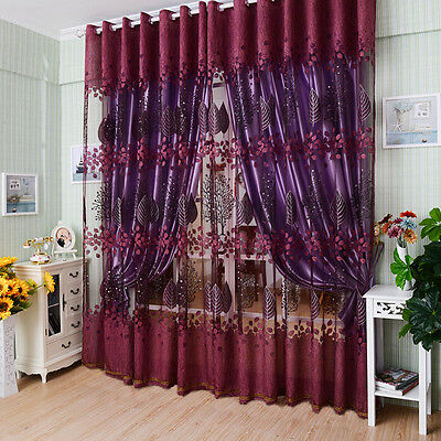 Modern Valances Floral Tulle Voile Door Window Curtain Drape Panel Sheer 1m×2m