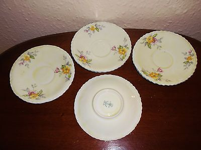 Vintage Crown Staffordshire 4 X Deco Saucers Creamy With Flowers &  Blue Rim