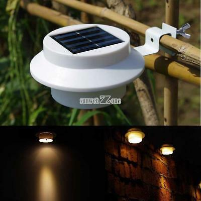 3 LED Solar Powered Power Fence Gutter Outdoor Garden Yard Light Pathway Lamp 01