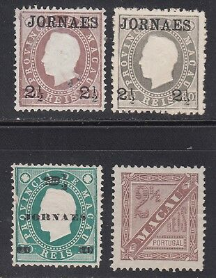 Macao China P1-P4 Unused No Gum As Issued 1892-1893 Newspaper Stamps 4 Different