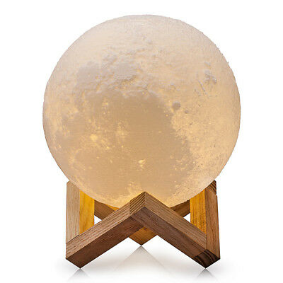 12/18/20CM 3D Rechargeable Moon Luna LED Night Lamp Desktop Touch Sensor Light H