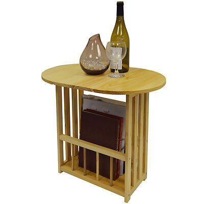 HAUGHTON - Swivel Top Side / End Table with Storage Rack - Natural LS0906