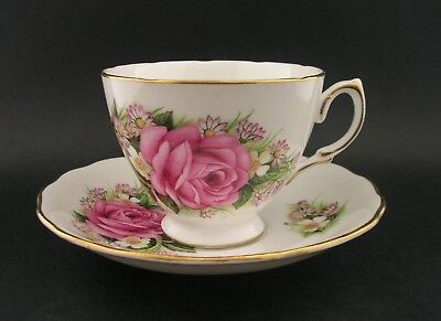 Royal Vale Pink Roses Vintage English Bone China Tea Cup & Saucer 7859 c1960s