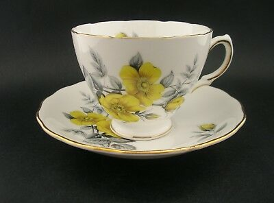 Royal Vale Yellow Roses Vintage English Bone China Tea Cup & Saucer 7979 c1960s