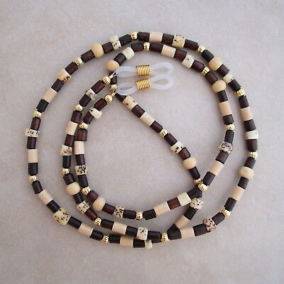 Handcrafted brown wood nut gold reading eyeglass chain holder lanyard
