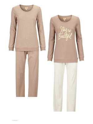 V by Very Stay Beautiful Pack of Two Pj's in Mink / Cream Size 14/16