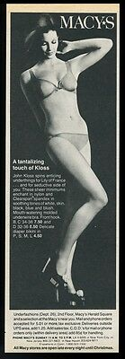 1968 sexy woman photo Kloss lingerie bra panties vintage Macy's local NYC ad