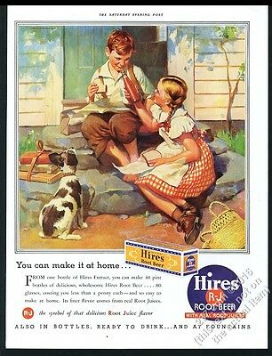 1937 Hires Root Beer girl boy dog color art vintage print ad