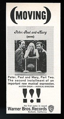 1963 Peter Paul and Mary Moving album release vintage print ad
