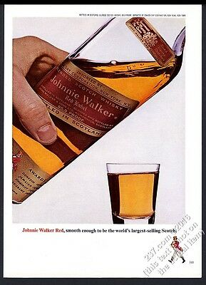 1965 Johnnie Walker Scotch Whisky bottle and shot glass photo vintage print ad