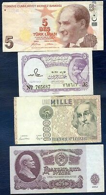 WORLD BANKNOTES x 4 : Turkey, Egypt, Italy, Russia