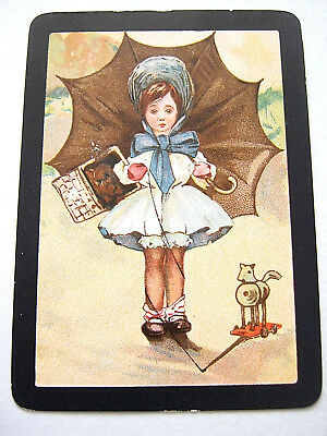 Antique Playing Cards 1 Single Swap Card Wide Goodall Child & Brolley & Toy