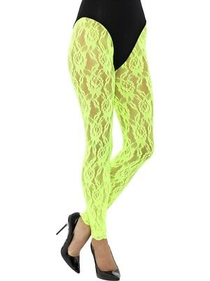 80s Lace Leggings, Neon Green Dancing Halloween Fancy Dress Costume Accessory