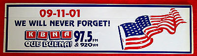97.5 FM 920 AM KBNA Radio Station Decal We Will Never Forget El Paso Texas msc