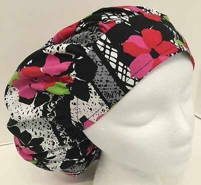 Pink Red Floral Size Large Medical Bouffant Surgical OR Scrub Cap Surgery Hat