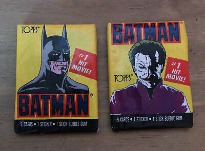 Topps Batman Bubble Gum Cards and Sticker x 2 Packs 1989 Un-opened Joker