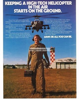1988 US Army Recruiting Recruitment Helicopter Avionics Technician Vtg Print Ad