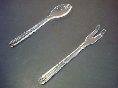 Heavy Crystal Glass Serving Set 10'' Spoon and Fork Set