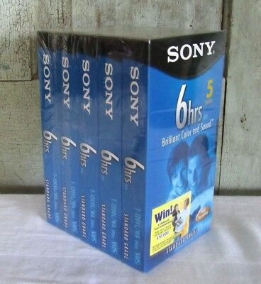 Sony 6hr 5 pack of Black Standard Grade VHS video recording tapes NEW & SEALED