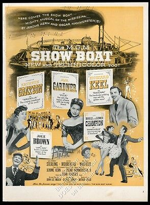 1951 ShowBoat Show Boat MGM musical movie release vintage print ad