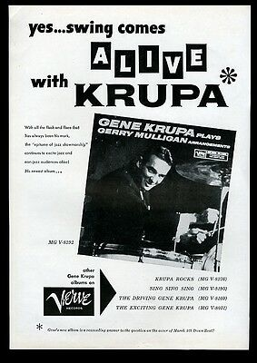 1959 Gene Krupa photo Verve Records vintage print ad