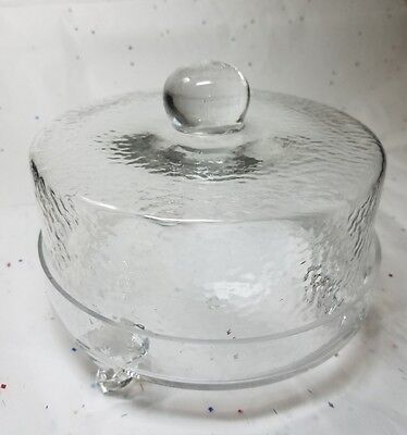 "VINTAGE Round Dimpled Glass Covered Three Legged Cheese / Dessert Plate 7""x5.5"""
