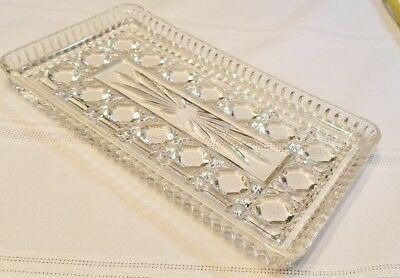 Vintage Crystal Cut Sandwich GLASS RECTANGULAR TRAY 8.5 X4.5""