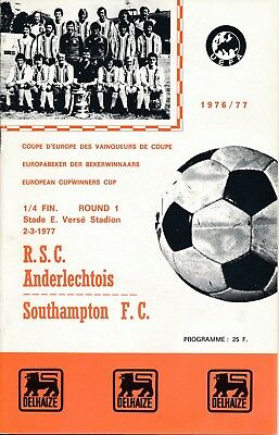 ANDERLECHT v Southampton (Cup Winners Cup) 1976/7