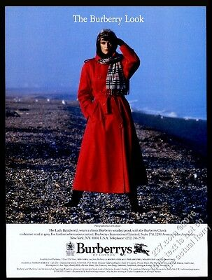 1986 Burberrys red trenchcoat Lady Kenilworth Lord Lichfield photo ad