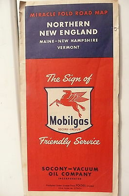 1953 Maine New Hampshire Vermont road map Socony Vacuum  gas oil Mobil N New E
