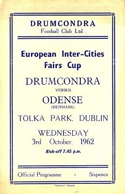 DRUMCONDRA v Odense (Inter Cities Fairs Cup) 1962/3