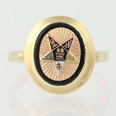 NEW Order of the Easter Star Onyx Ring - 10k Yellow Gold Enamel OES Masonic
